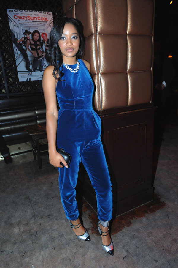 Keke-Palmer-Crazy-Sexy-Cool-After-party-fashion-nova-velvet-jumpsuit-and-marissa-webb-alina-colorbloack-cut-out-booties