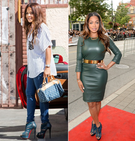 Who Wore It Better? Christina Milian Vs. LaLa Anthony In Christian Louboutin's Karina Blue Khol Suede And Watersnake Sandals