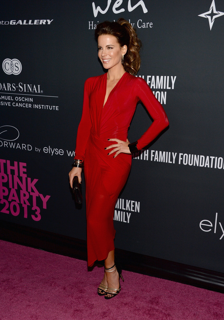 kate-beckinsale-elyse-walker-pink-party-2013-donna-karan-long-sleeve-plunge-twist-dress-casadei-sandals-1