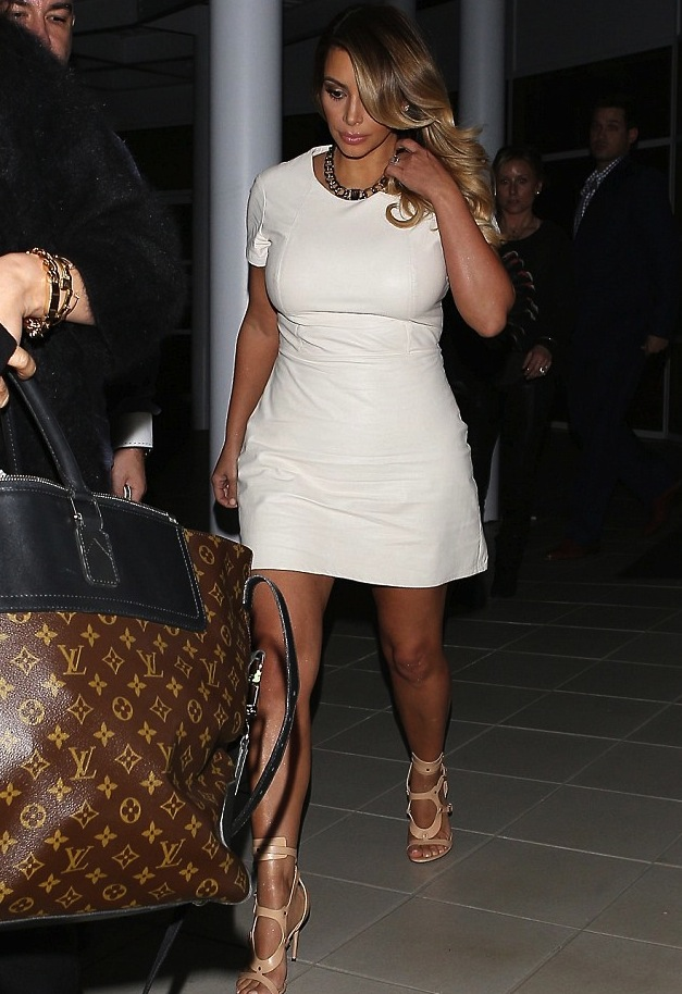 Kim Kardashian's Hollywood White Leather Dress and Tom Ford Gladiator Sandals