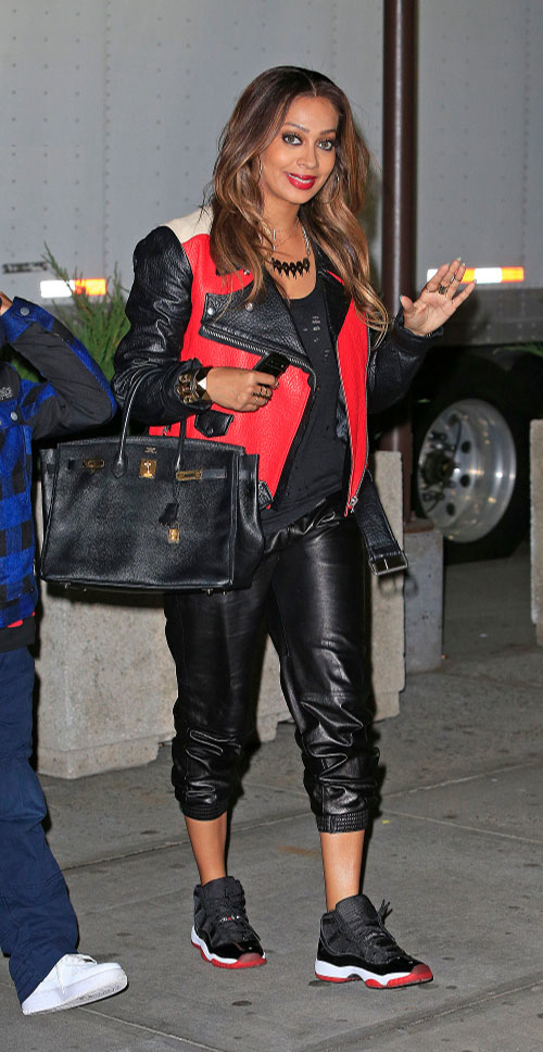_Lala-Anthony's-New-York-Knicks-Gams-Acne-Colorblock-Red,-Black,-and-Beige-Leather-Jacket