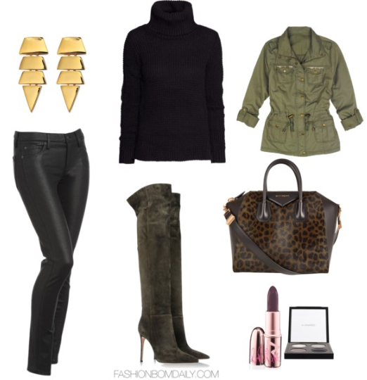 What to Wear to The Universoul Circus H&M Knitted Polo Neck Jumper Delias Shirt Jacket with Gold Details Gianvito Rossi Over the Knee Boots 7 For all Mankind Black Coated Jeans Givenchy Khaki Leopard Print Antigona Bag