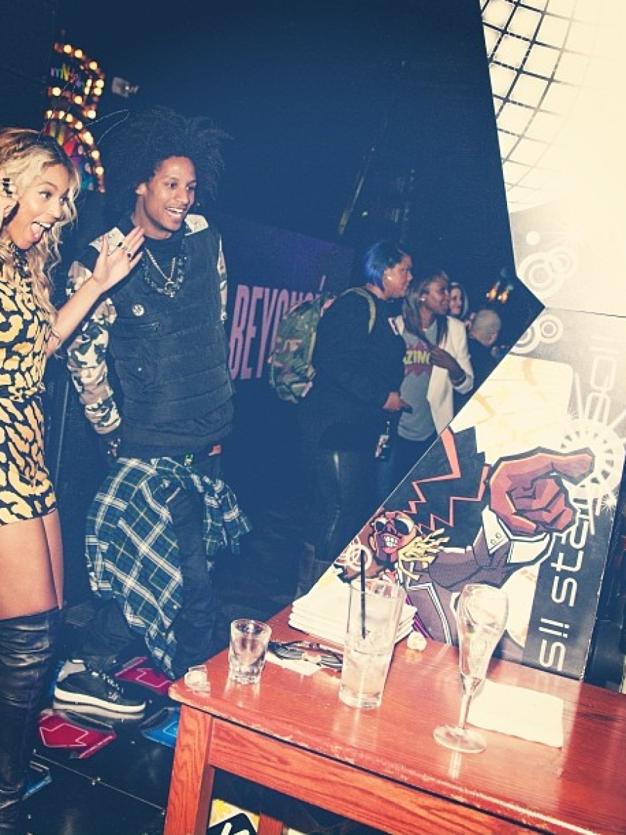 0 Beyonce's Dave & Busters Album Release Party Lover Spring 2014 Leopard Printed Hudson Fitted Tee and Tribal Shorts