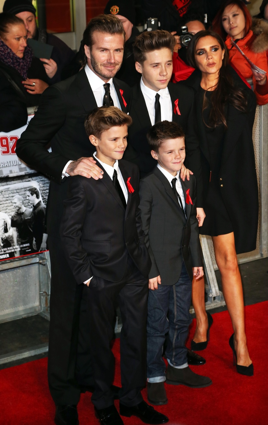 Victoria Beckham and David Beckham attend The World Premiere of 'The Class of 92' at The Odeon West End in London