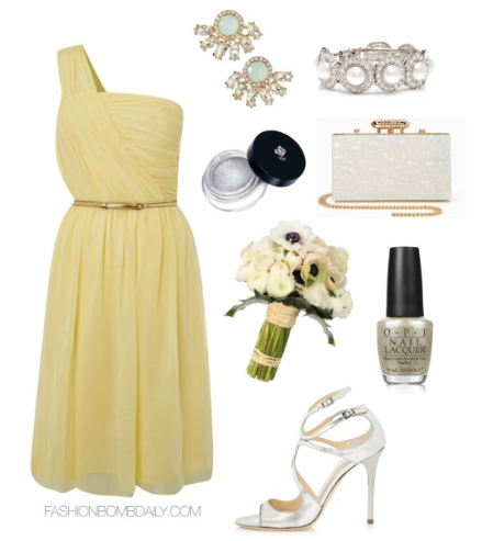 What to Wear As Maid of Honor Untold Chiffon One Shoulder Dress Jimmy Choo Lang Metallic Sandal Nasty Gal Ivory Coast Clutch