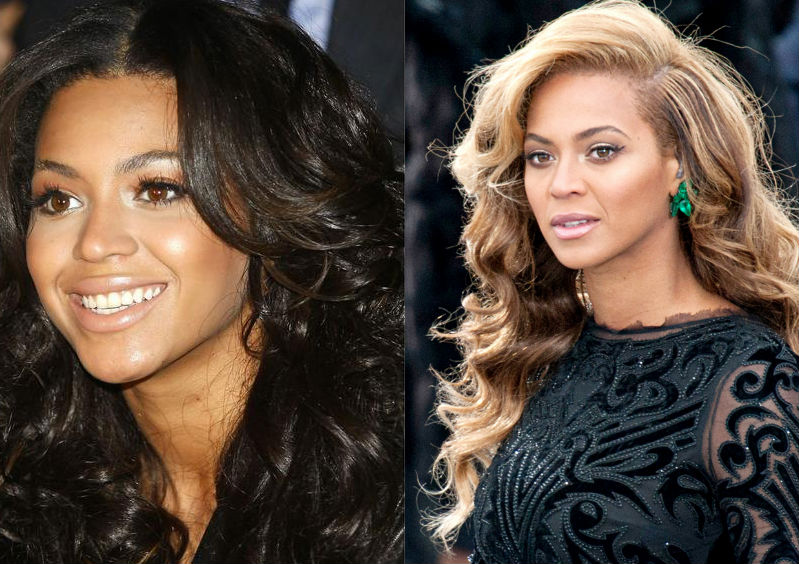beyonce dark and light hair
