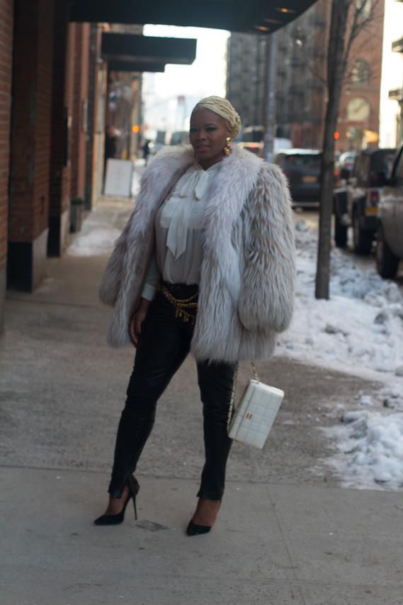 Duckie Confetti Fur Zara Top All Saints Leather Pants Chanel belts earrings a second chance resale 00