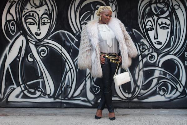 Duckie Confetti Fur Zara Top All Saints Leather Pants Chanel belts earrings a second chance resale 0000