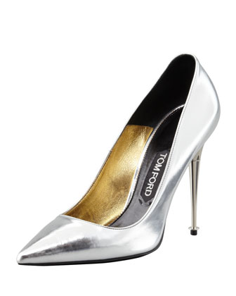 Tom Ford's Mirror Leather Silver Pointy Toe Pump