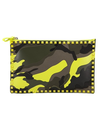 Black and yellow camouflage clutch Valentino fg2Lz
