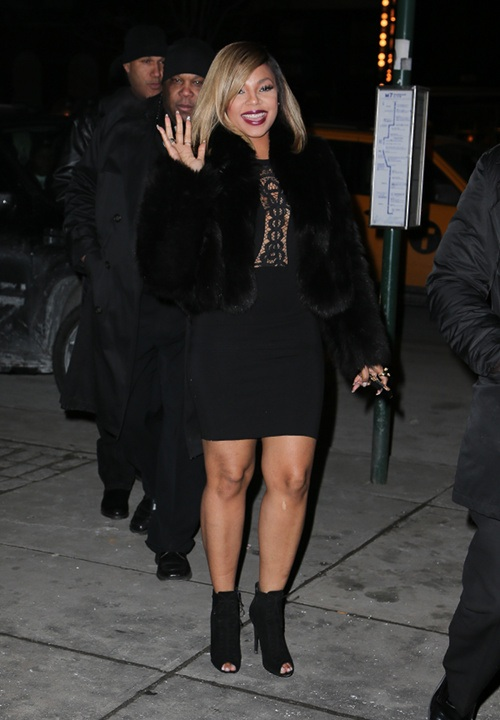Ashanti's New York City Fendi Black Fur Coat and Supertrash Darris Lace Dress'00-]
