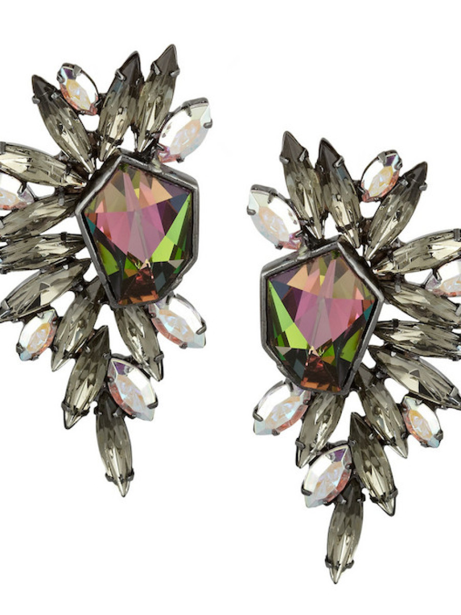 Elizabeth Cole's Hematite Plated Swarovski Crystal Earrings