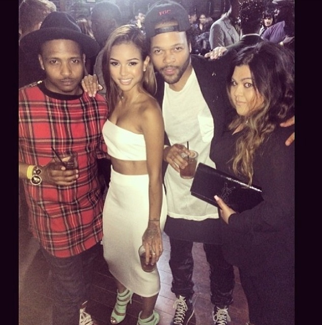 Karrueche Tran's Instagram Zara Crop Top and Midi Skirt,