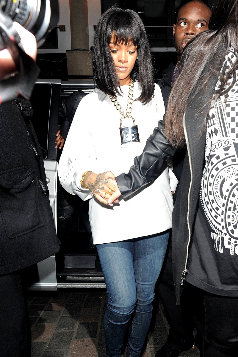 Rihanna partied it up at Cirque Le Soir nightclub in London in an open back top and Chanel padlock chain
