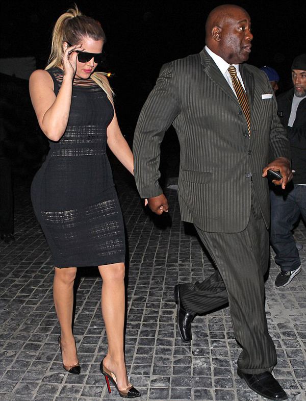 1-Khloe-Kardashian's-Cecconi's-Restaurant-Narciso-Rodriguez-Black-Sheer-Knit-Dress-and-Christian-Louboutin-Perspex-Heels