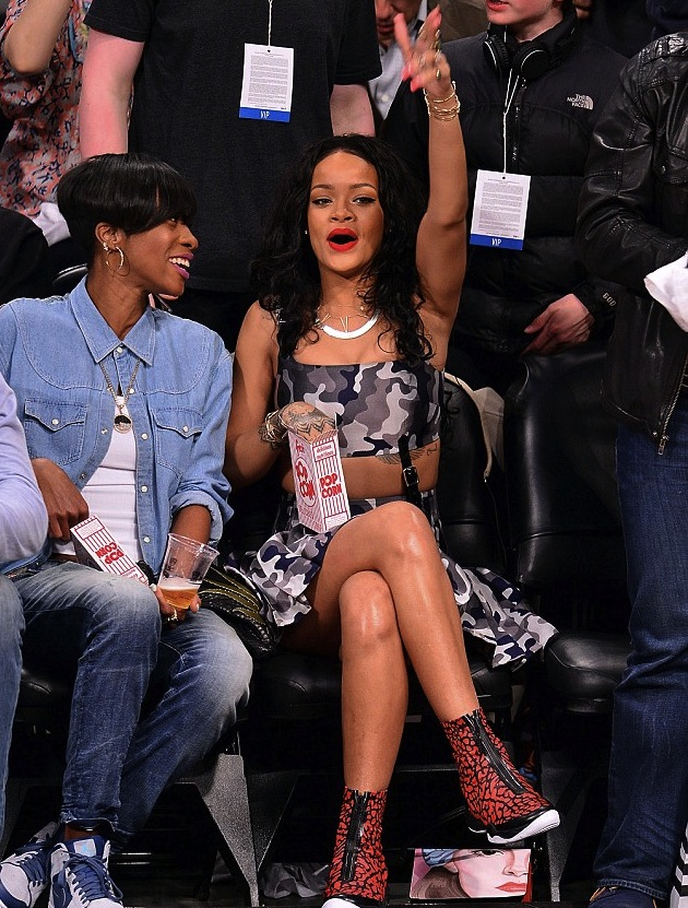 1 Rihanna's Brooklyn Nets Game Christopher Kane Gray Camouflage Print Dress and Air Jordan XX8 Quickstrike Red and Black Sneakers