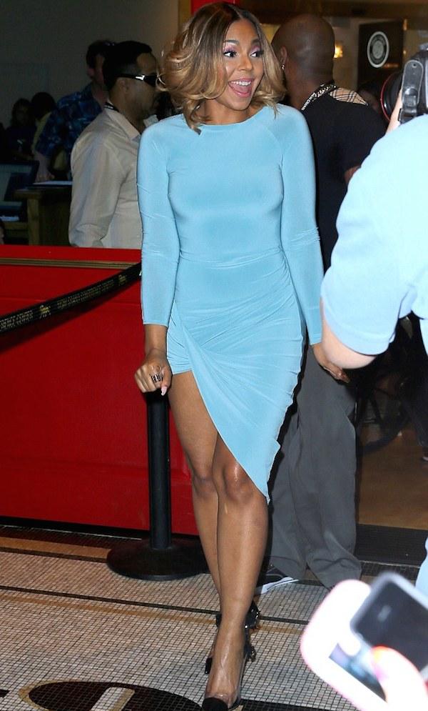 2 Ashanti's Pacquiao vs. Bradley Fight Celebboutique Amara Turquoise Blue Draped Long Sleeve Dress
