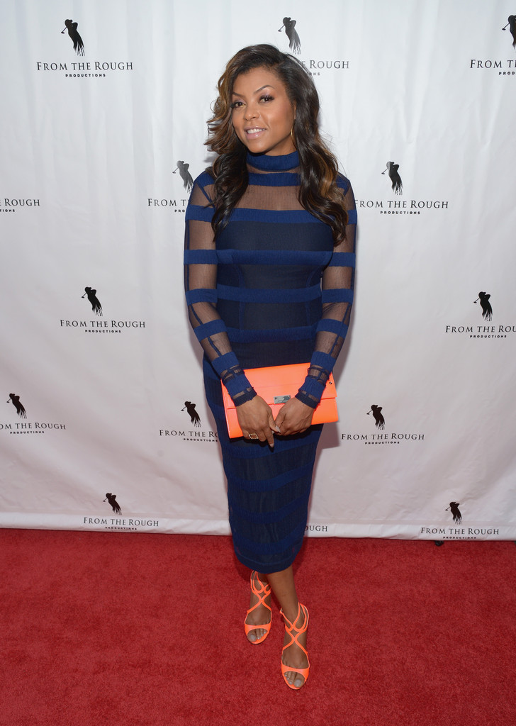Taraji P. Henson's From the Rough LA Premiere Charlotte Ronson Fall 2014 Sheer Blue Dress and Jimmy Choo Lance Sandals