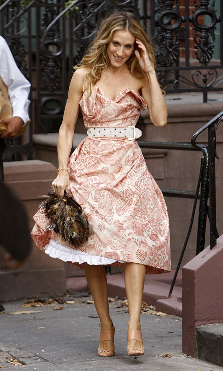 carrie bradshaw feather clutch