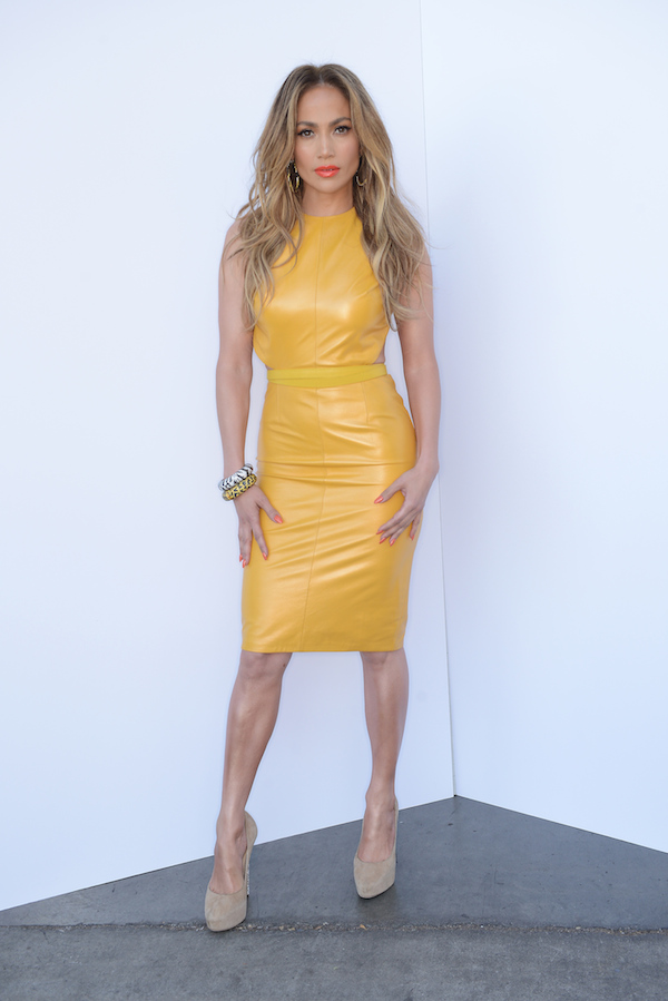 jennifer lopez american idol Phillip Armstrong yellow leather dress jimmy choo shoes jacon leopard bracelets