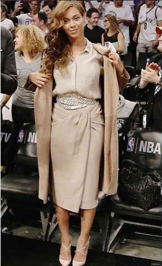 5 Beyonce's Miami Heat Vs. Brooklyn Nets Game Burberry  Prorsum Silk Blouse, Matching Pencil Skirt and Coat