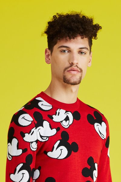 Pharrell Williams's The Voice Opening Ceremony x Mickey Mouse Steamboat Willie Face Off Sweater