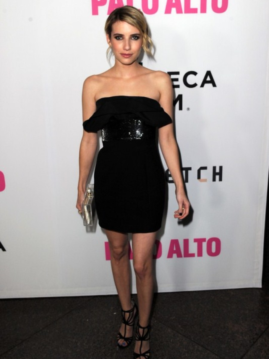 emma-roberts-palo-alto-premiere-saint-laurent-strapless-sequinned-dress-jimmy-choo-sandals-charlotte-olympia-pearl-perspex-clutch