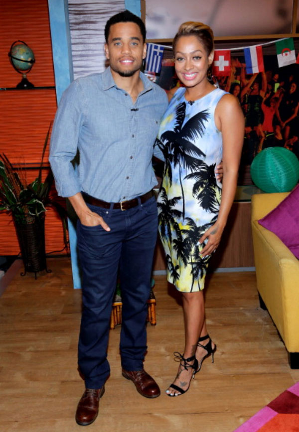 Michael-Ealy-and-Lala-Anthony-fausto-puglisi-palm-print Lala Anthony's Think Like a Man Too Press Tour Fausto Puglisi Palm Printed Lycra Jersey Dress