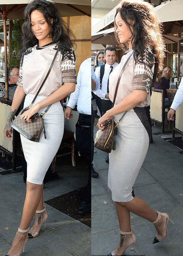 Rihanna's-Il-Pastaio-Restaurant-Louis-Vuitton-Alma-BB-handbag-in-Damier-Ebène-and-Gianvito-Rossi-Leather-and-Perspex-Pumps