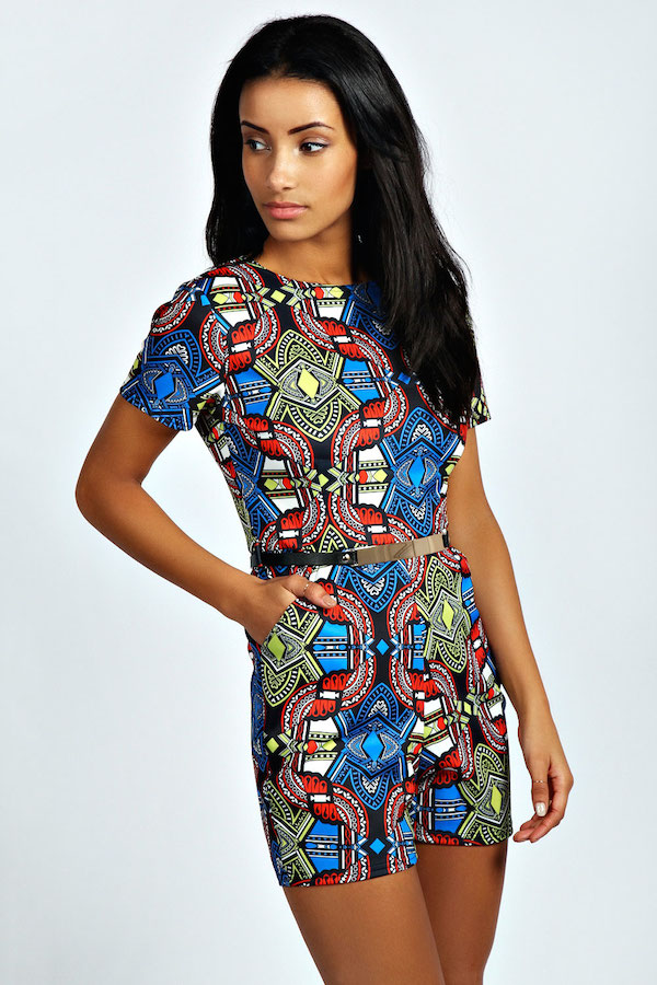 boohoo faith muti tribal print playsuit