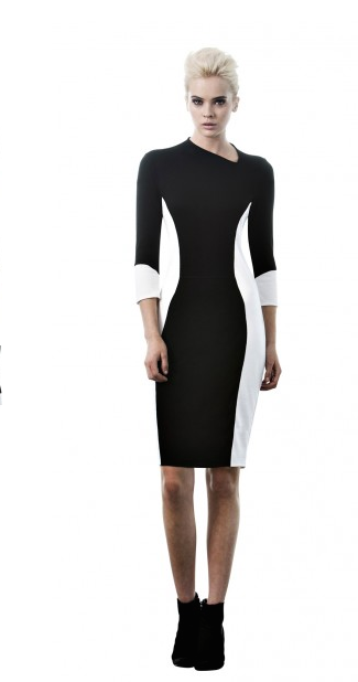 7 Halle Berry's Jimmy Fallon Show Astars Black and White Colorblocked Avery Dress