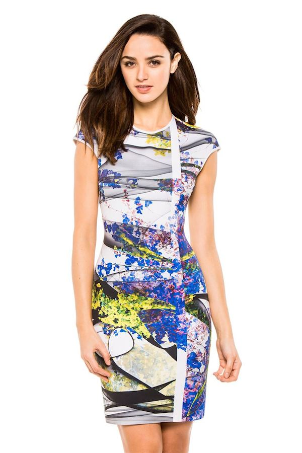 Bethenny Frankel's New York City Clover Canyon Space Garden Print Purple and Green Neoprene Dress 0