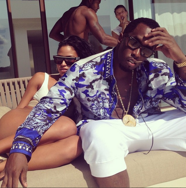 Diddy's Ibiza Versace Blue Camouflage Print Silk Shirt