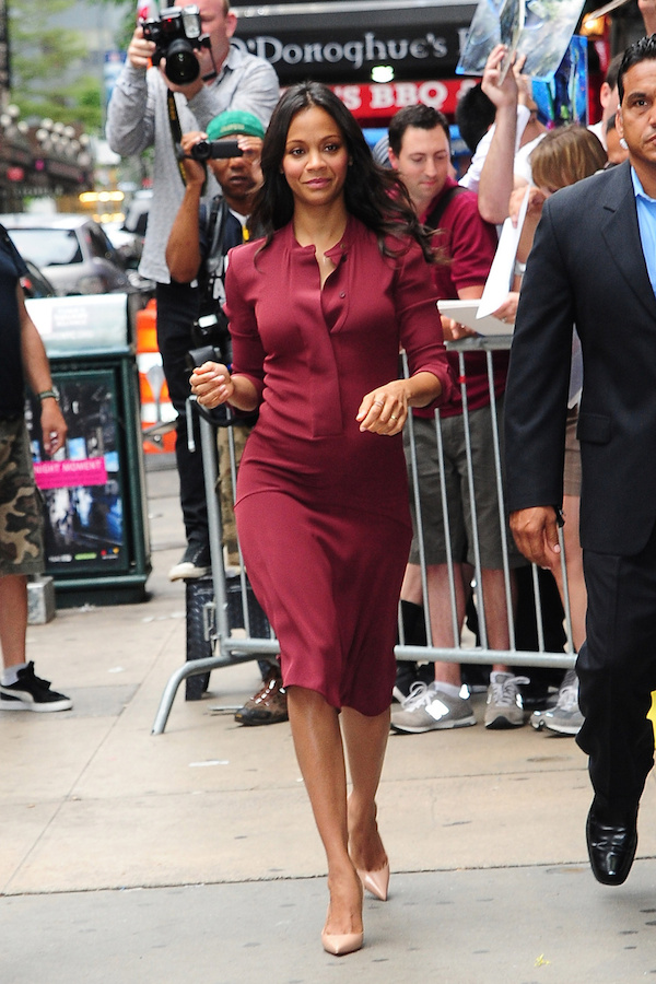 Zoe Saldana is seen on 'Good Morning America' in New York City