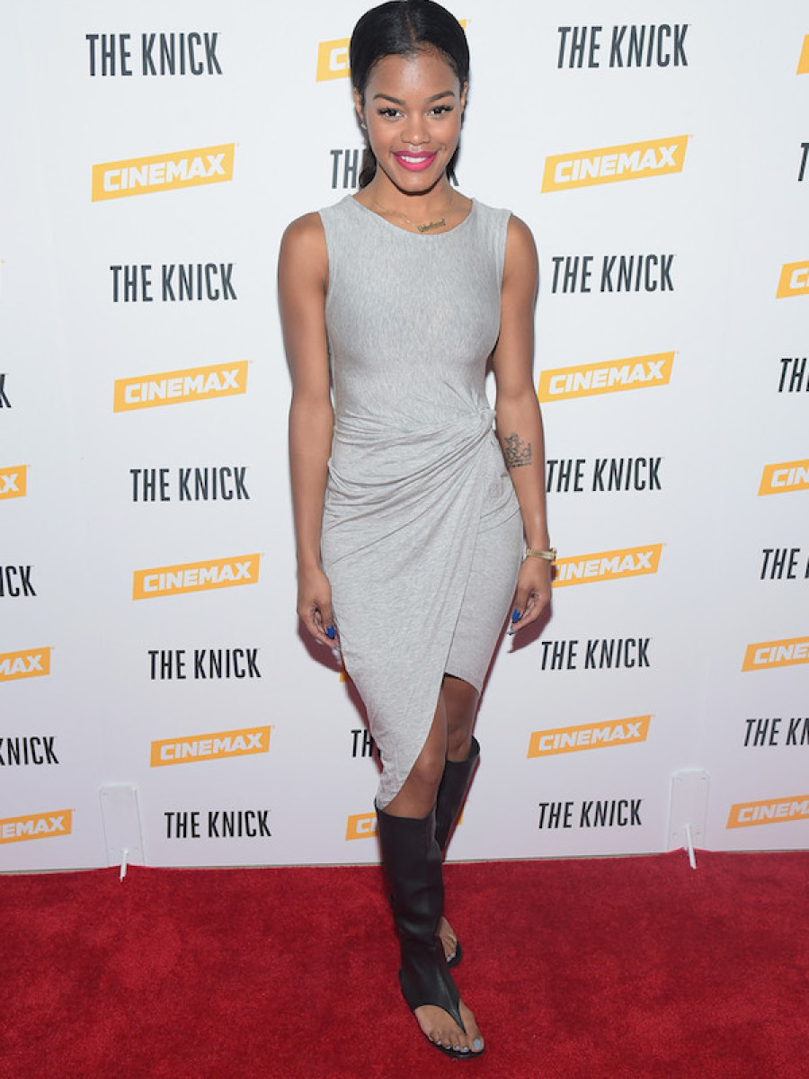 3 Teyana Taylor's The Knick Screening Christian Louboutin Black Gladiator Knee High Flats