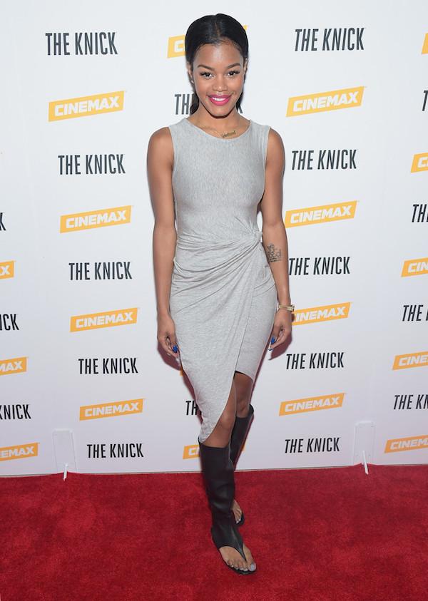 3 Teyana Taylor's The Knick Screening Christian Louboutin Black Gladiator Knee High Flats