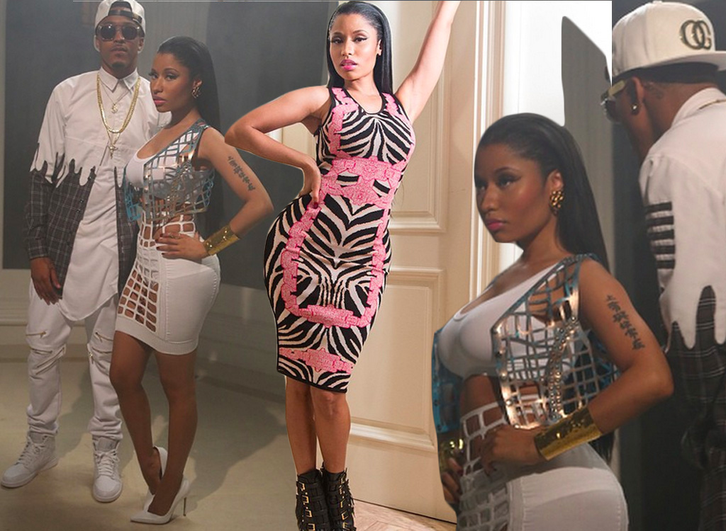 Nicki Minaj's No Love Remix Video Jane Bowler Laser Cut Out Top and Dress + Herve Leger Behati Zebra Jacquard Dress + August Alsina's Roper Drip Paint Plaid Shirt