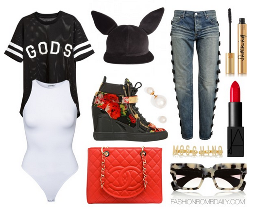 What to Wear to an Outkast Concert Stampd Unisex Gods Motif Basketball Jersey Tu Es Mon Tresor Bow Embroidered Boyfriend Jeans Giuseppe Zanotti Floral Print Velvet Wedge Sneakers Chanel Red Quilted Caviar Grand Shopper Tote