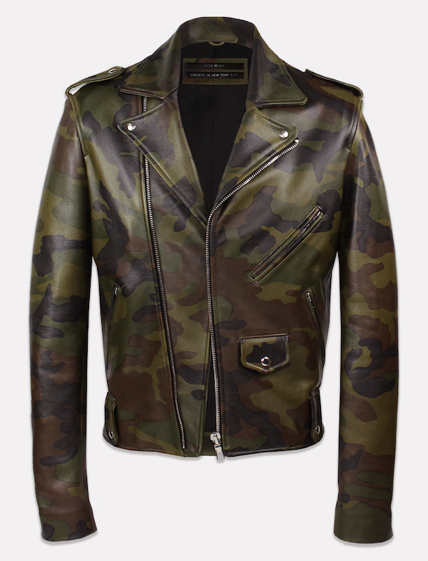 His sold out fully lined tailored biker jacket is crafted out of printed  Italian lambskin with front and wrist zipper details.