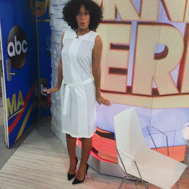 tracee ellis ross good morning american reed krakoff white dress and christian louboutin so kate pumps