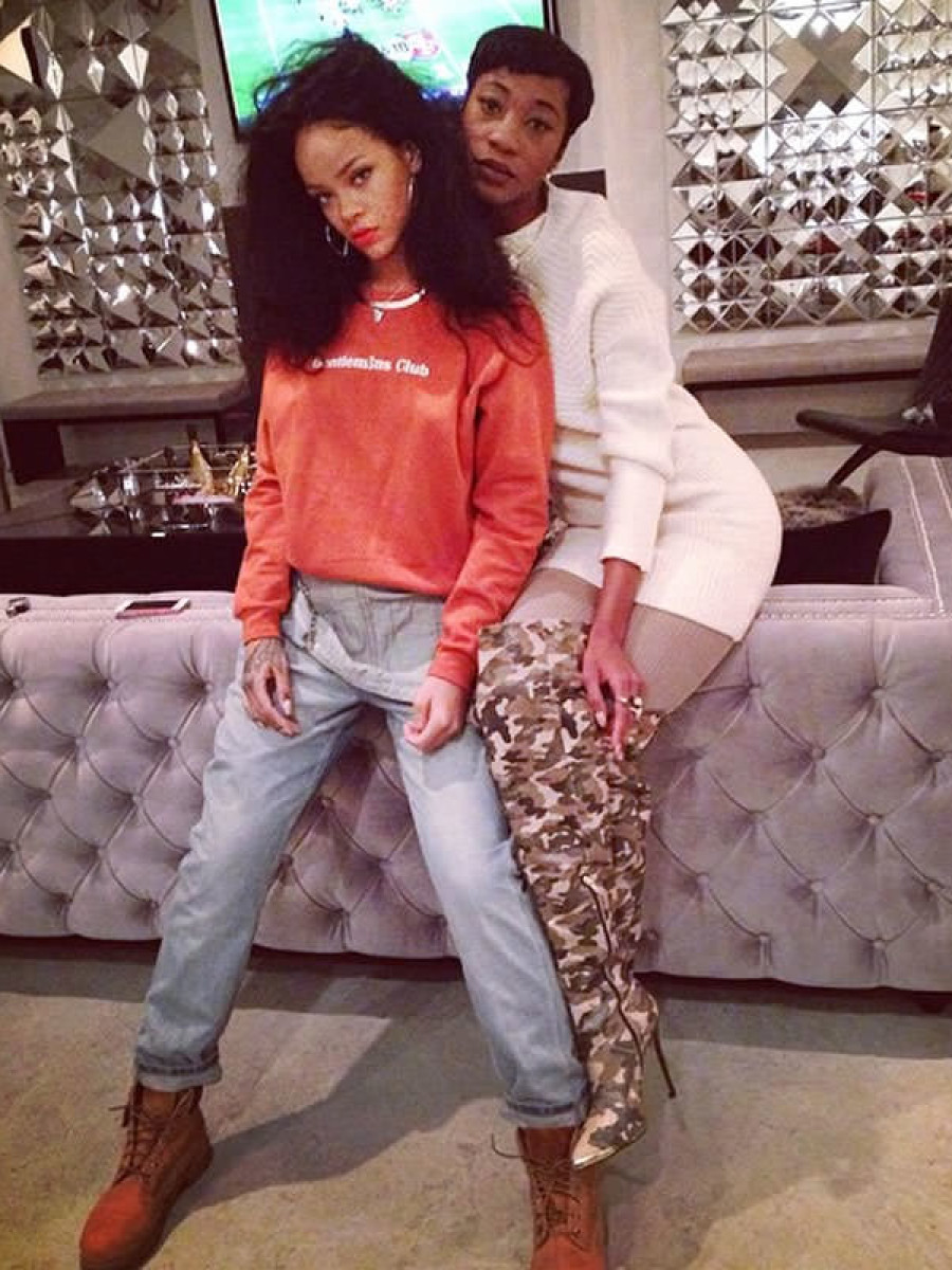 Rihanna's Thanksgiving Gentlem3n's Club Orange Sweatshirt and Topshop Dungarees + Melissa Forde's Rihanna x River Island Thigh High Over the Knee Camouflage Boots