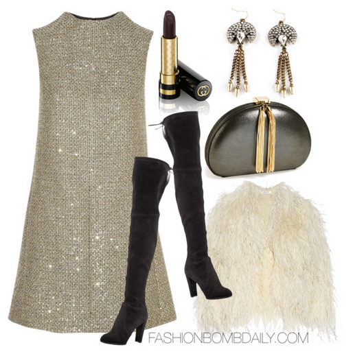 What to Wear to a Holiday Party 2014 Stuart Weitzman Highland Stretchy Suede Over the Knee Boot Sequin Embellished Metallic Tweed Mini Dress Feather Embellished Mohair Blend Jacket Ted Baker London Rounded Tassel Clutch