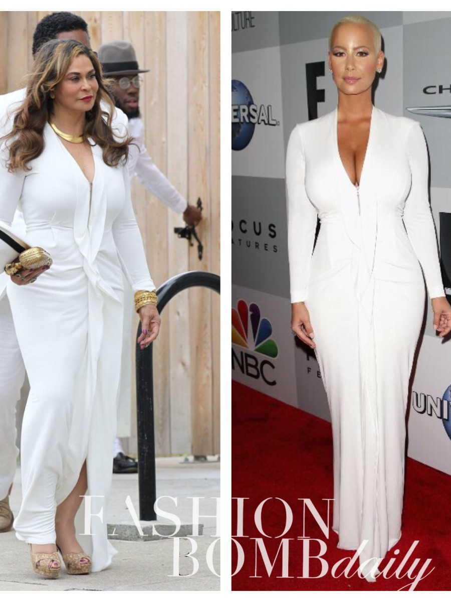 0 Amber Rose vs. Tina Knowles in Roland Mouret's White Ruffle Long Sleeve Zip Front Dress