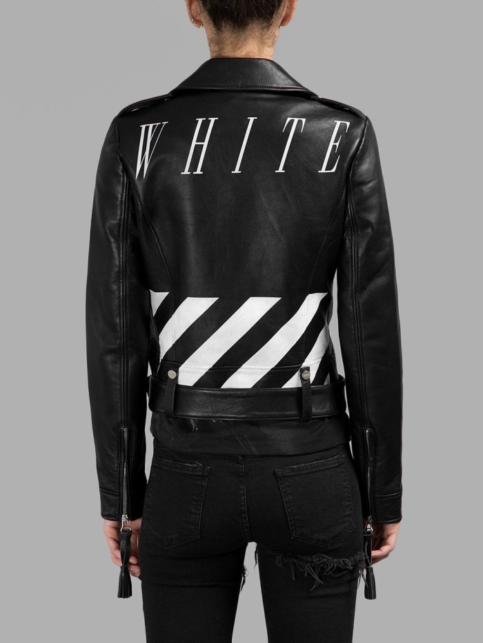 8 Beyonce's Nets Game Virgil Abloh Off White Fall 2014 Black Leather Biker Jacket