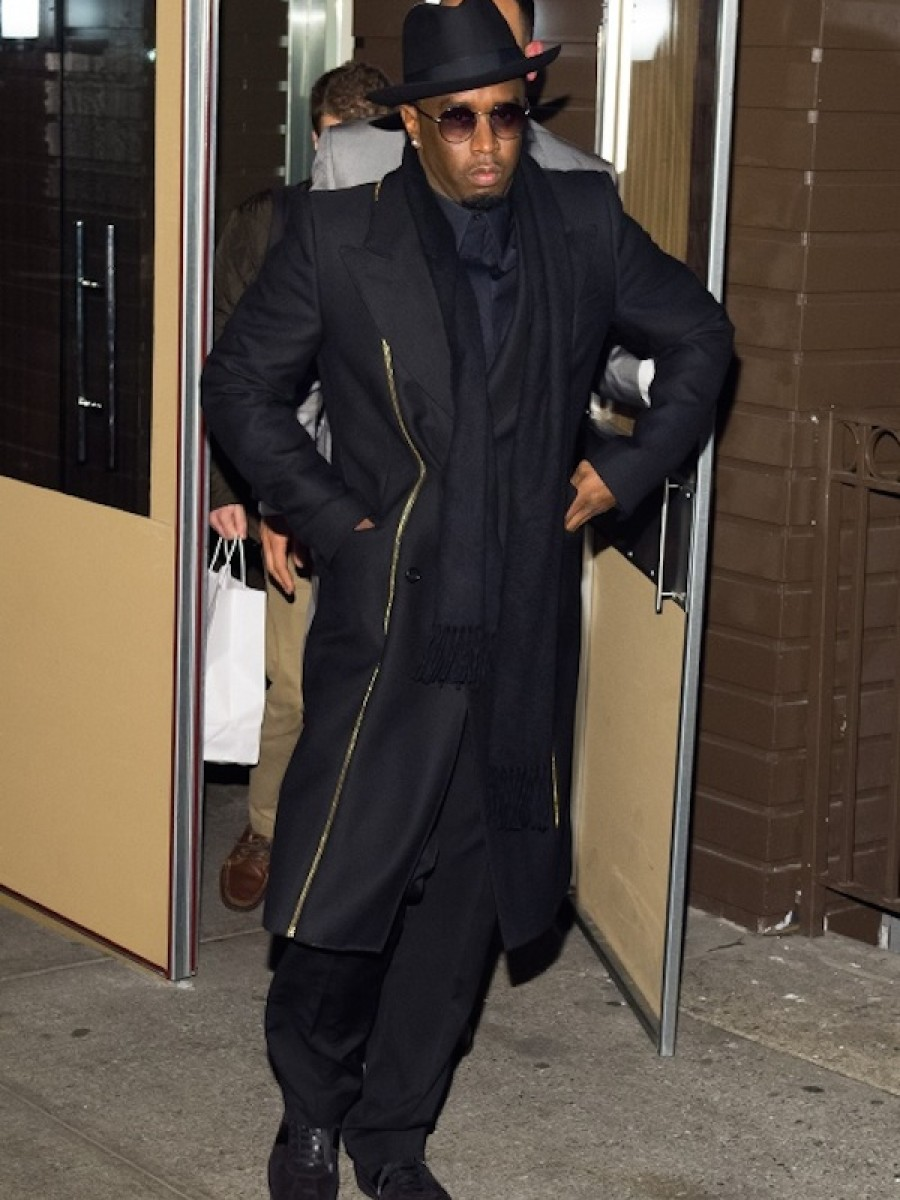 Sean P. Diddy Combs donned an all black 'fit at Red Stix Restaurant in NYC