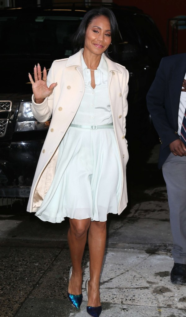 Jada Pinkett Smit skewed demure in a flirty dress upon arriving at 'Live with Kelly and Michael' in NYC.