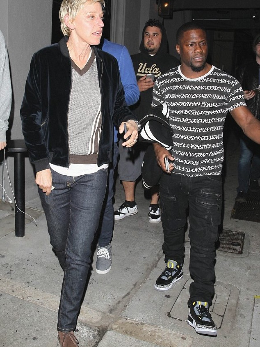 Kevin Hart's Ellen Degeneres Dinner Saint Laurent Leopard Striped T-Shirt