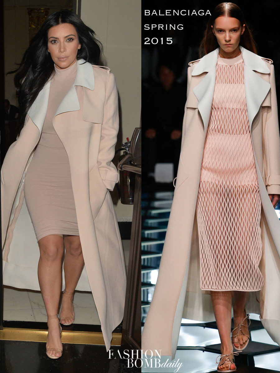 _88-Kim-Kardashian-West's-London-Balenciaga-Spring-2015-Tan-Trench-Coat,-Nude-Dress,-and-Manolo-Blahnik-Lucite-Sandals