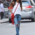 Joan Smalls's New York City Photo Shoot Pierre Hardy Red Alpha Fringe Crossbody Bag