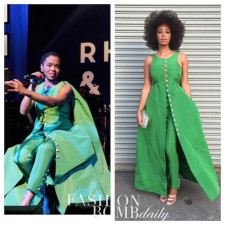 Who Wore it Better? Lauryn Hill vs. Solange Knowles in Rosie Assoulin's Fall 2015 Green Pearl Buttoned Top and Pants